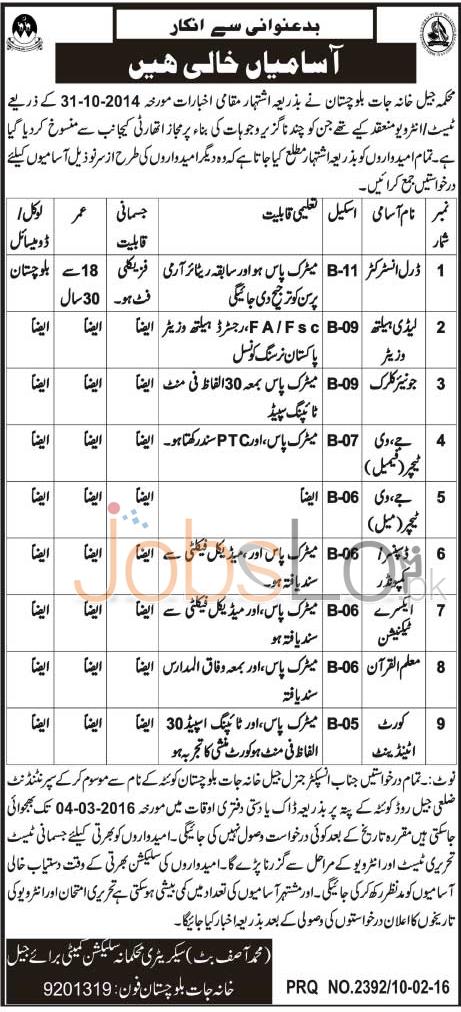 Central Jail Balochistan Jobs 11th February 2016 Career