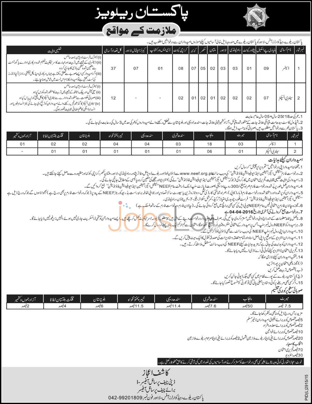 Pakistan Railways HQ's Office Lahore 2016 Jobs Application