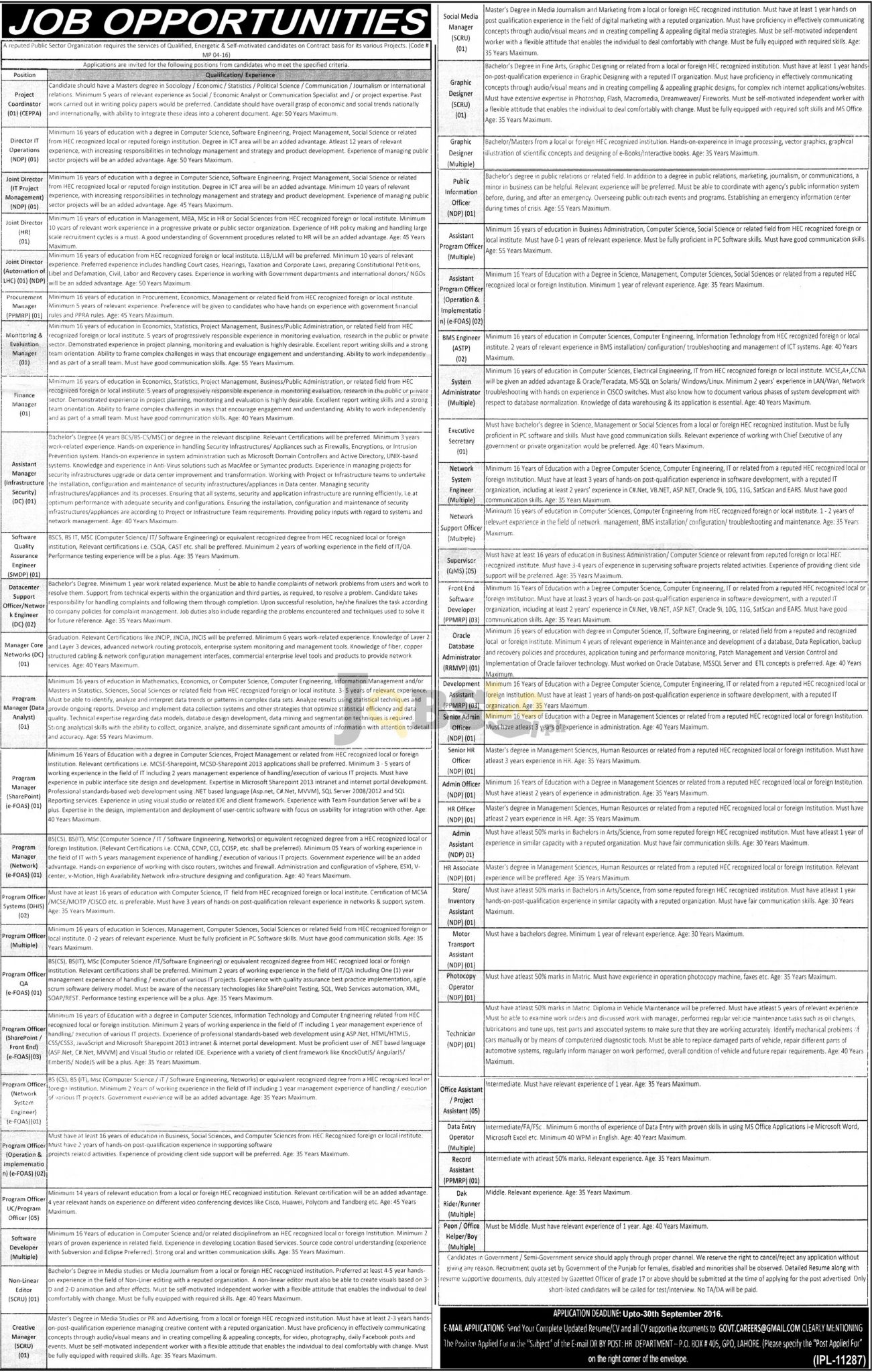 Public Sector Organization Lahore Jobs Sep 2016 Latest