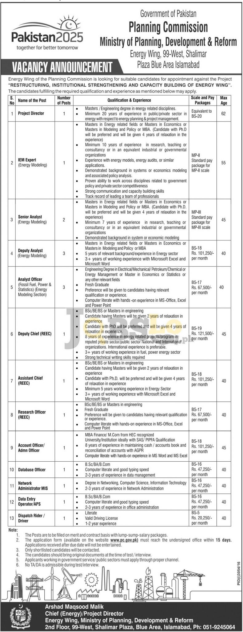 Planning Commission of Pakistan Jobs 2016-17 Application