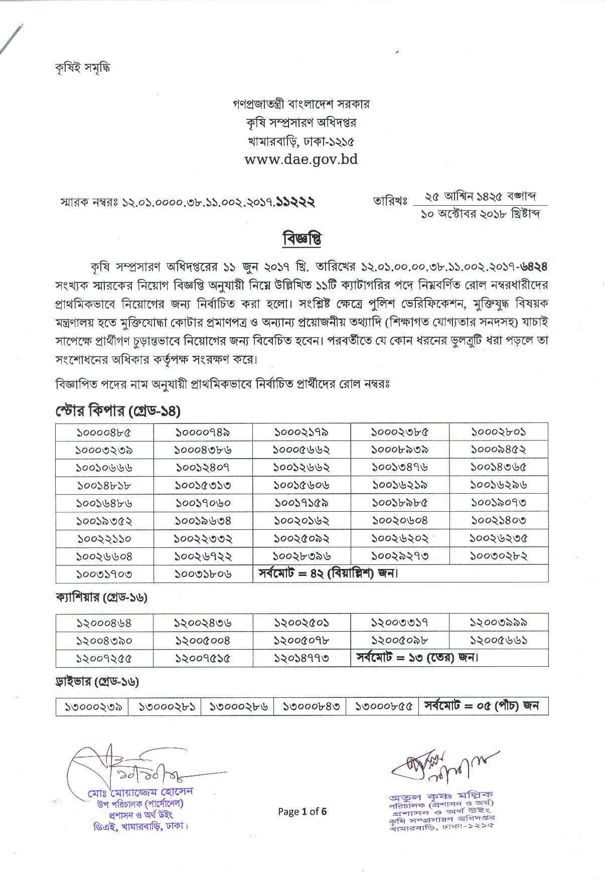 Department of Agricultural Extension (DAE) Viva Date And Results 2018 DAE Final Result 2018 published: