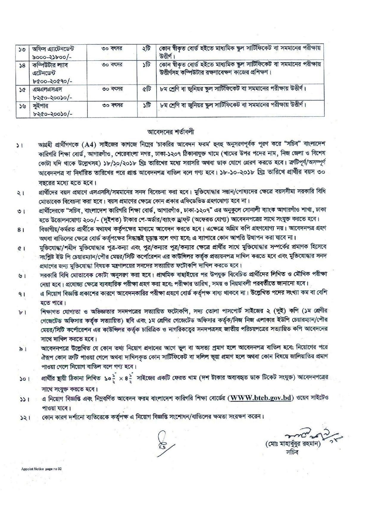 Bangladesh Technical Education Board (BTEB) Job Circular