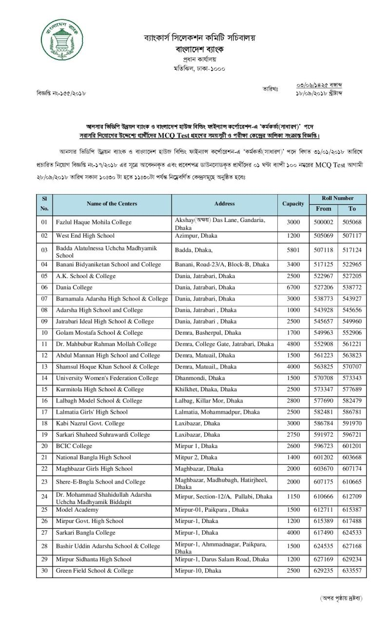 Combined 2 Bank MCQ Exam Date And Seat Plan Circular 2018