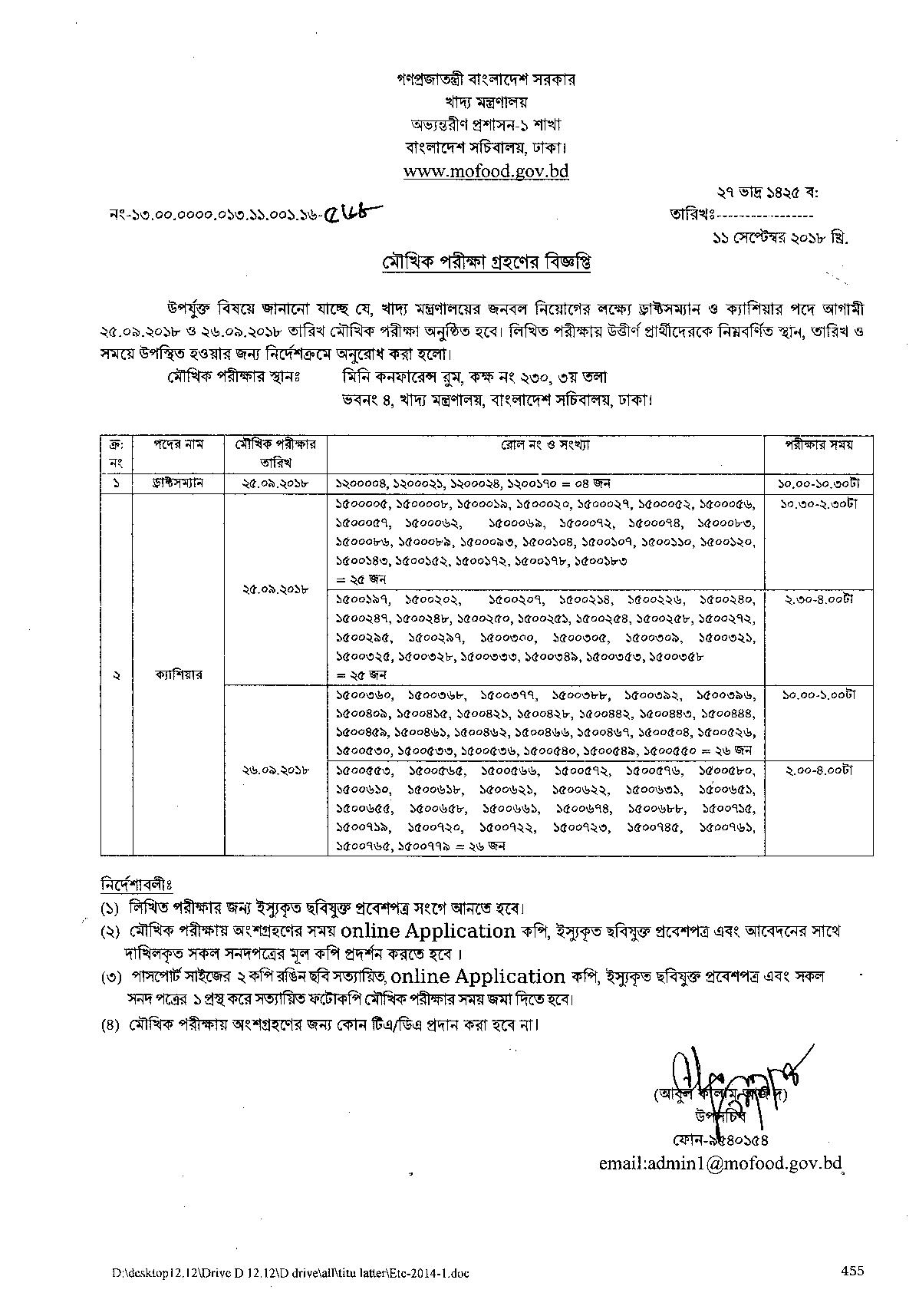 Ministry of Food (Mofood) Exam Date Published: