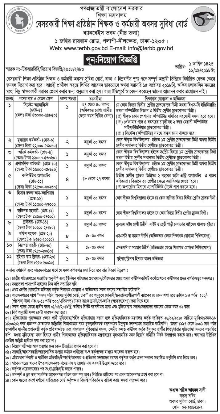 Non Government Teacher Employee Retirement Benefit Board (TERBB) job circular & Apply Instruction -2018