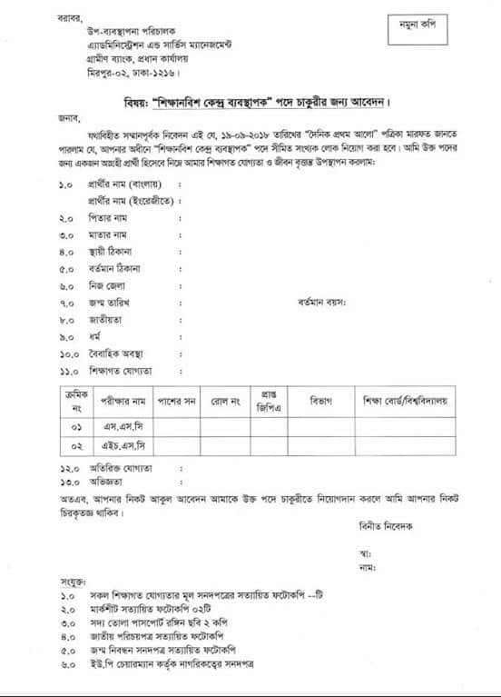 Grameen Bank (GB) Jobs Circular & Apply Instruction 2018