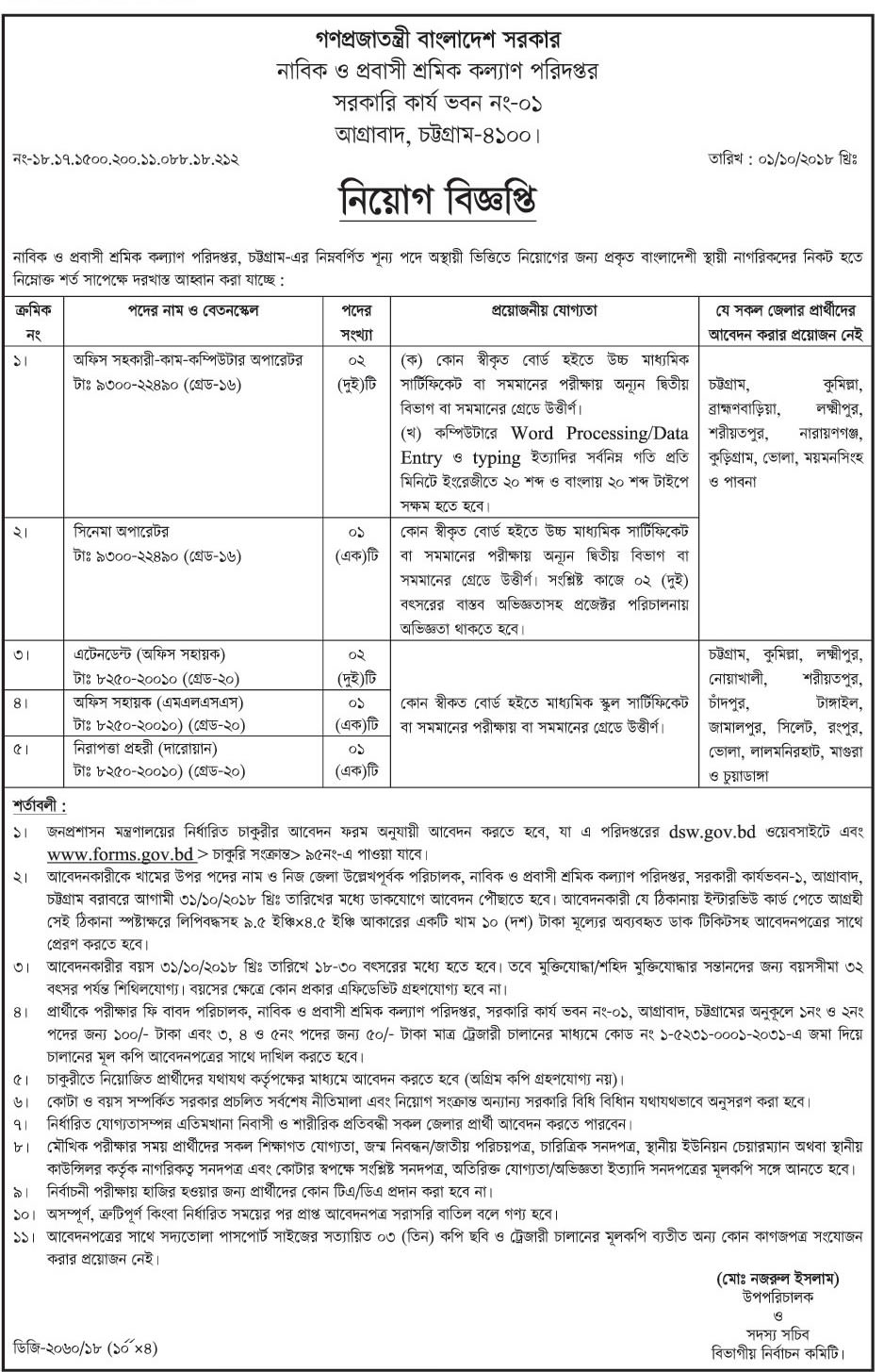 Directorate of Seamen & Emigration Welfare (DSW) job circular & Apply Instruction -2018