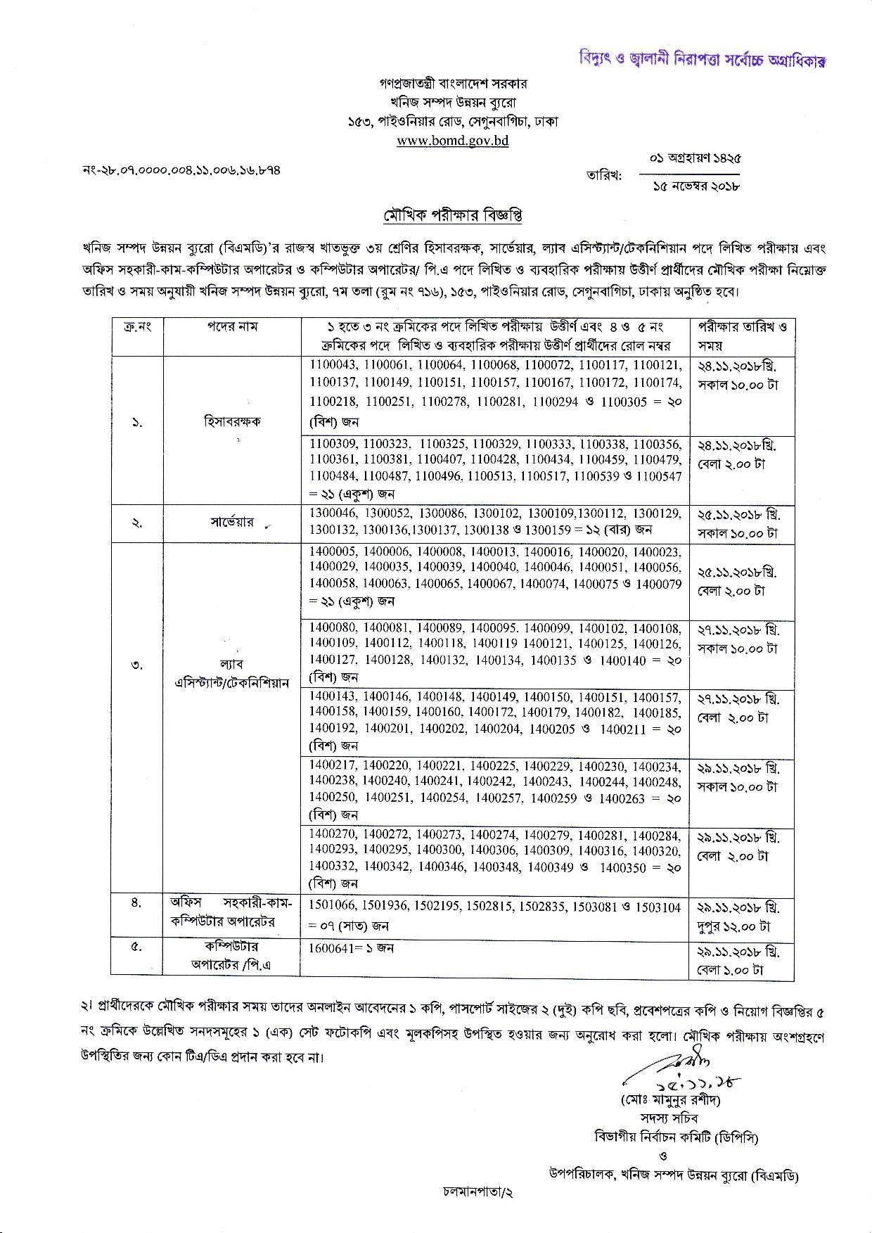 Bureau of Mineral Development (BOMD) Viva Date Exam Result 2018