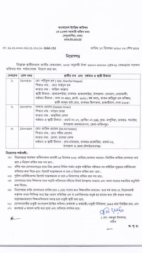Bangladesh Tariff Commission (BTC) Exam Result 2018