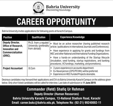 Bahria University Karachi Campus jobs advertisement