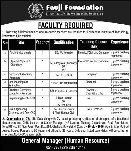 Teachers jobs in Foundation institute of technology advertisement