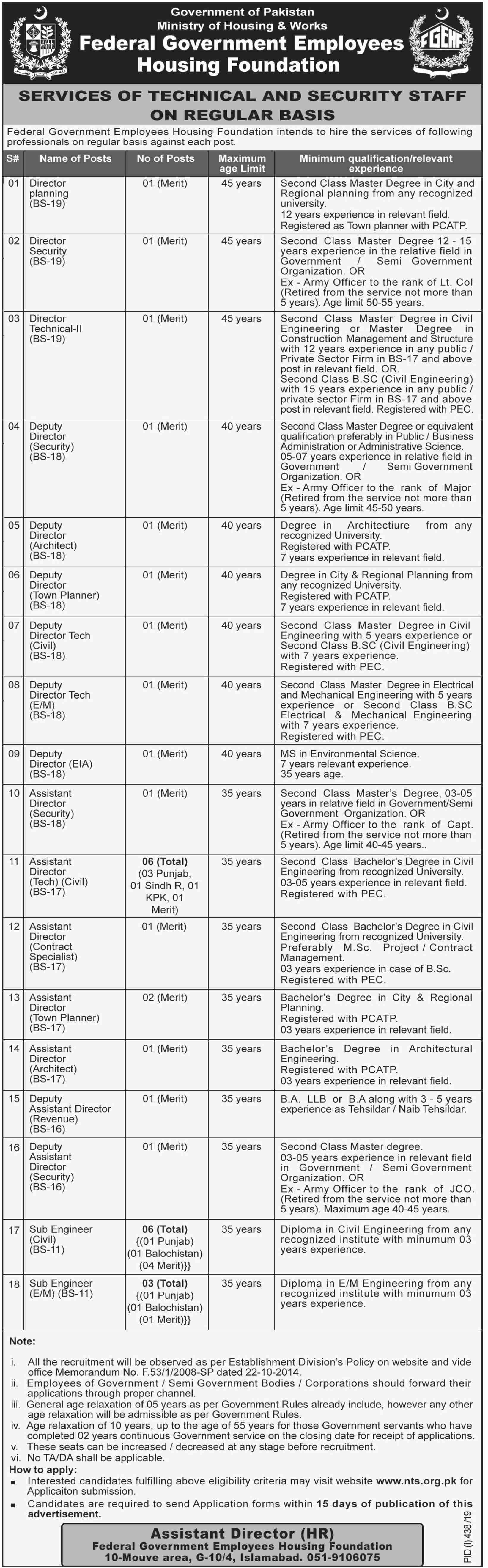 Ministry of Housing and Work jobs advertisement