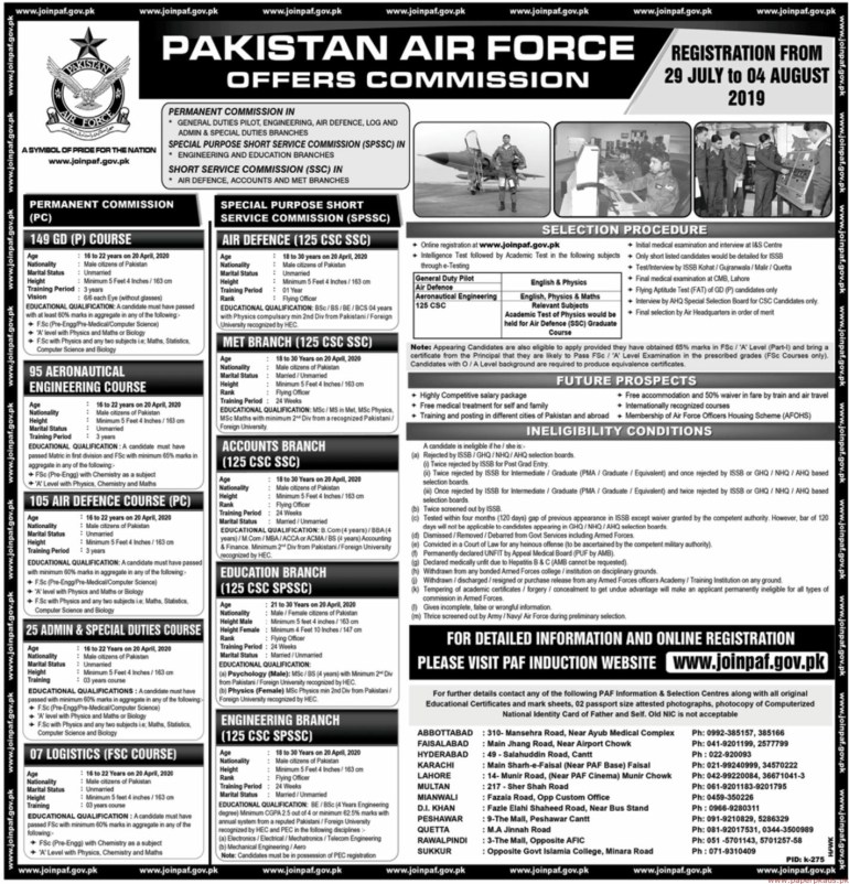 Pakistan Air Force PAF PC and SPSSC Jobs Advertisement