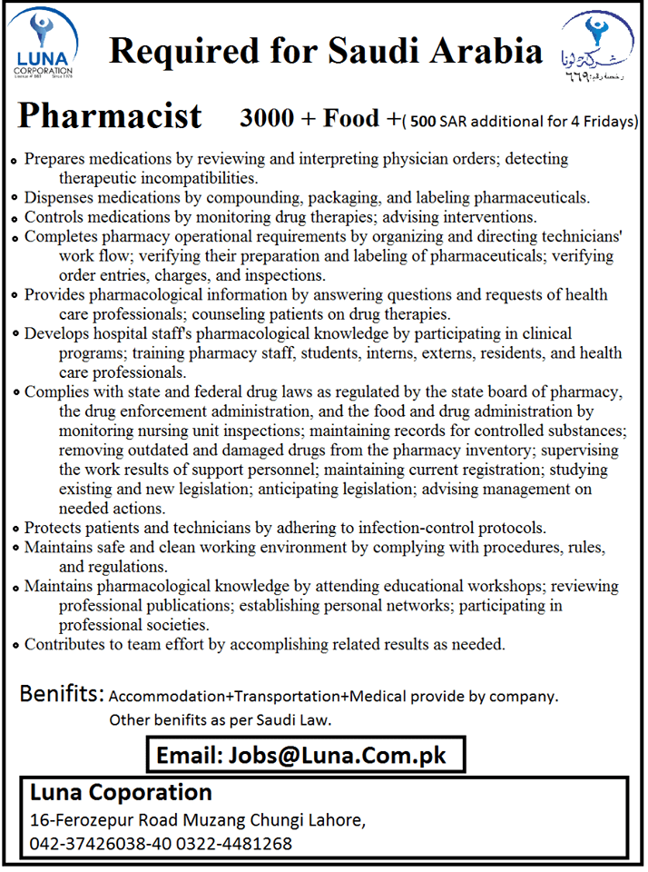Pharmacist jobs in Saudi Arabia advertisement