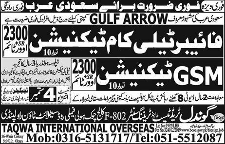 GSM & Fiber Telecom Technician jobs in KSA