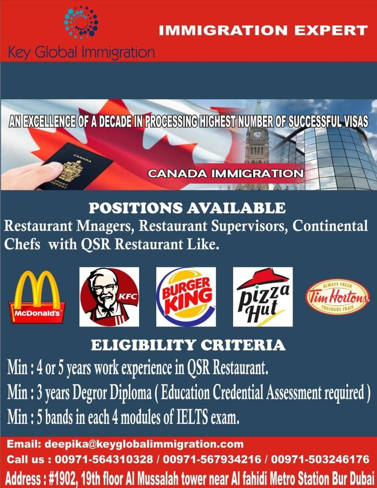 Restaurants Workers Jobs in Canada Advertisement
