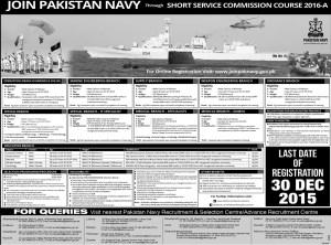 Pak Navy SSC Commission Course 2016 A Latest Advertisement