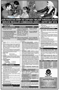 Pakistan Army Short Service Commission Jobs 2016 SSC Latest