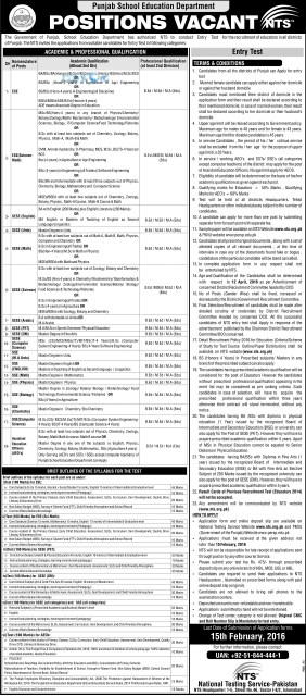 Educators Jobs 2016 Announced For All Punjab Districts