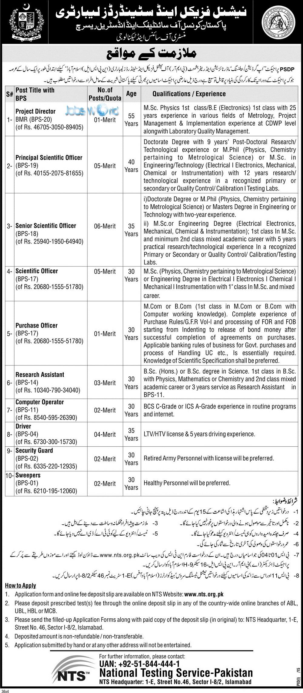National Physical & Standards Laboratory NPSL Jobs 2016