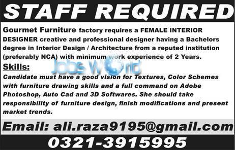 Furniture Design Vacancies 3d interior design jobs