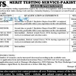 Merit Testing Service Pakistan Jobs 2016 MTS Invigilators & Supervisors