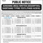 FPSC Written Test Schedule August 2016 Syllabus
