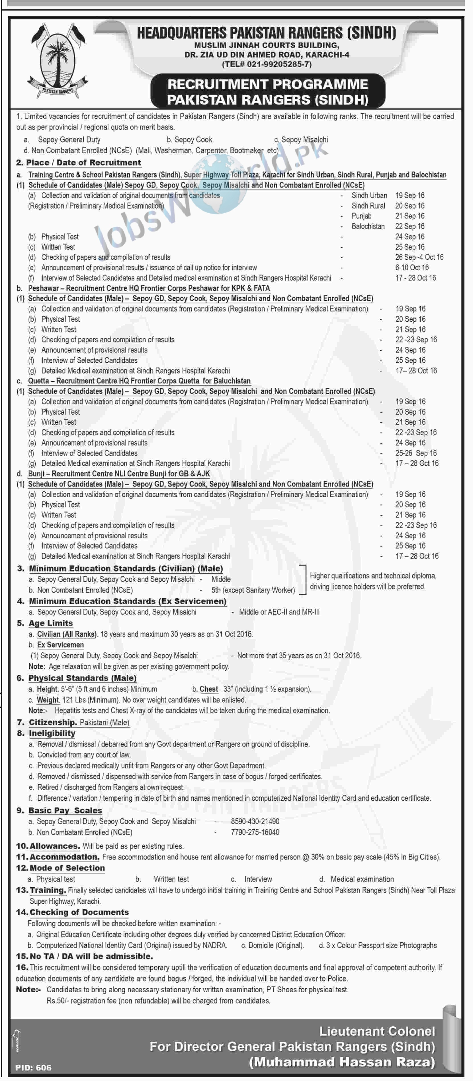 Sindh RANGERS Jobs 2016 In Pakistan Latest Recruitment For