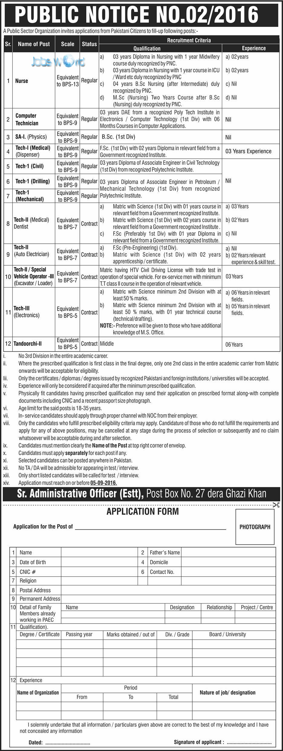 PO Box 27 Jobs 2016 Dera Ghazi Khan PAEC Application Form