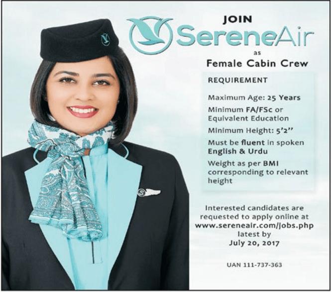 Air Hostess Jobs 2017 In Pakistan Serene Air Cabin Crew