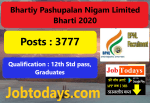 Bhartiy Pashupalan Nigam Limited Bharti 2020 pdf Download , Apply Now