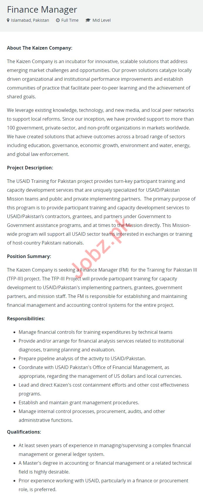 Finance Manager Job Description Finance Manager Job 2019 In Islamabad 2019 Job Advertisement Pakistan