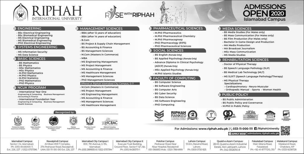 Riphah International University Islamabad Admissions in