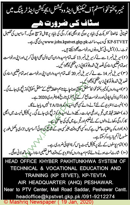 Staff jobs in Peshawar at Khyber Pakhtunkhwa System Of