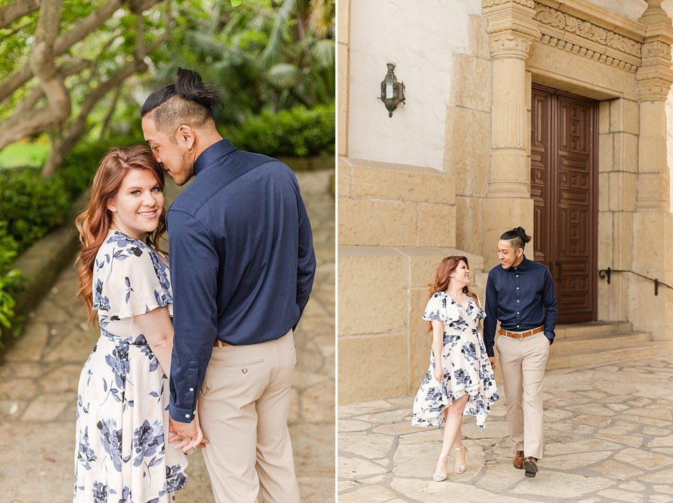 Daniella smiling at the camera while Ray smiles at her. His back is to the camera and her body is facing his. A second photo of the couple holding hands smiling at each other as they walk towards the camera.