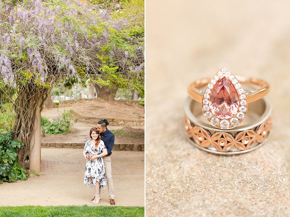 The couple is standing underneath some Wisteria vines and a second photo of the couple's rings next to each other.