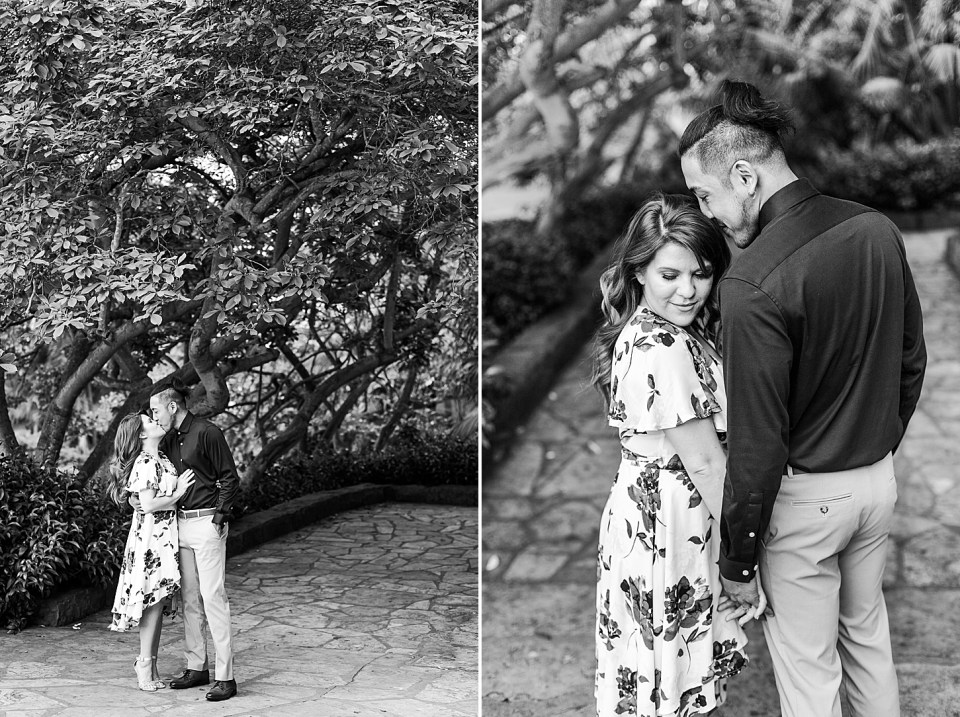 black and white photos of the couple sharing a kiss under some trees and a second photo of Daniella looking towards the camera with her body against Ray's and she is looking down her arm and Ray is kissing the top of her head.