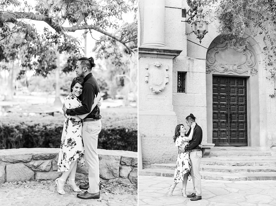 black and white photos of the couple standing under some tree branches at Alice Keck Park in Santa Barbara, California. A second photo of Danielle & Ray holding each other closely at the Courthouse in Santa Barbara.