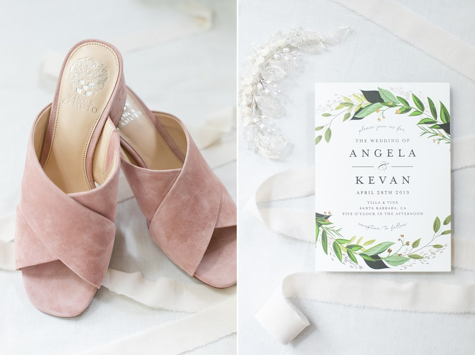 The brides dancing flats and a second photo of the couple's wedding invitation.