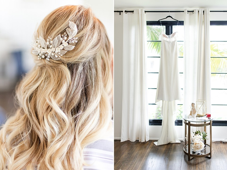 Angela's curly hair and hair piece and a second photo of her wedding gown hanging in front of the window with her details on a small circular table next to it.