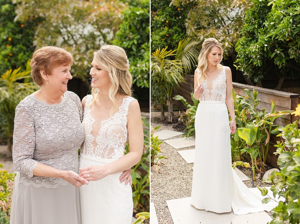 Angela & her grandmother smiling at each other, and a second photo of the bride holding her dress and smiling down her shoulder.