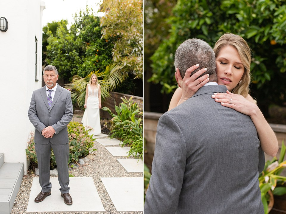 Angela standing behind her dad before he sees her for the first time. A second photo of Angela hugging her father.