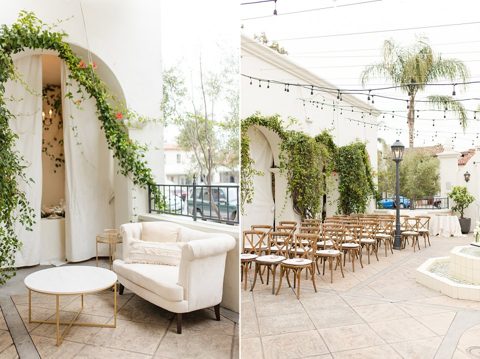 The lounge area of the couple's Villa & Vine Wedding and rows of ceremony chairs with vines and flowers near them.