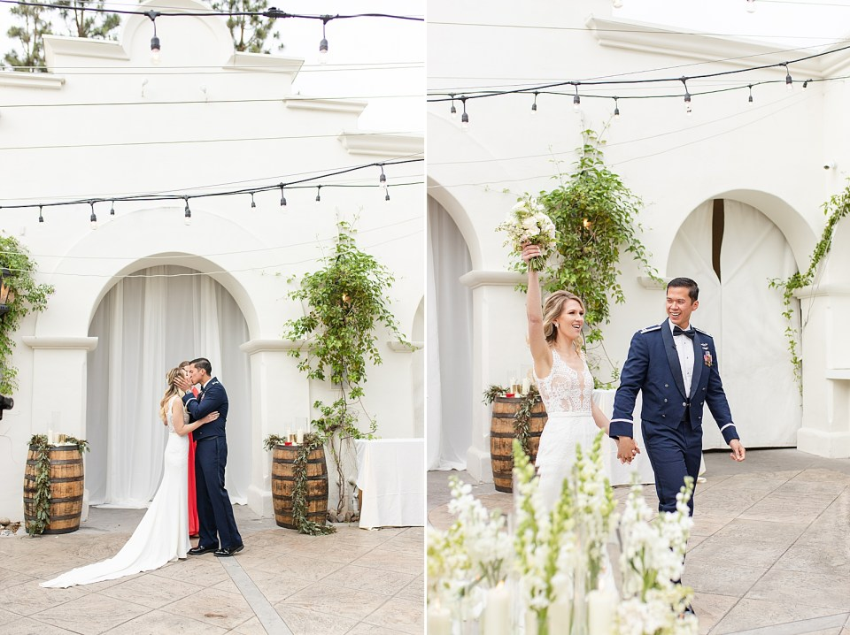 The couple sharing their first kiss as husband and wife. A second photo of the couple waking out after being pronounced husband & wife. Angela & Kevan are holding hands and her bouquet is raised in her other hand above her head.