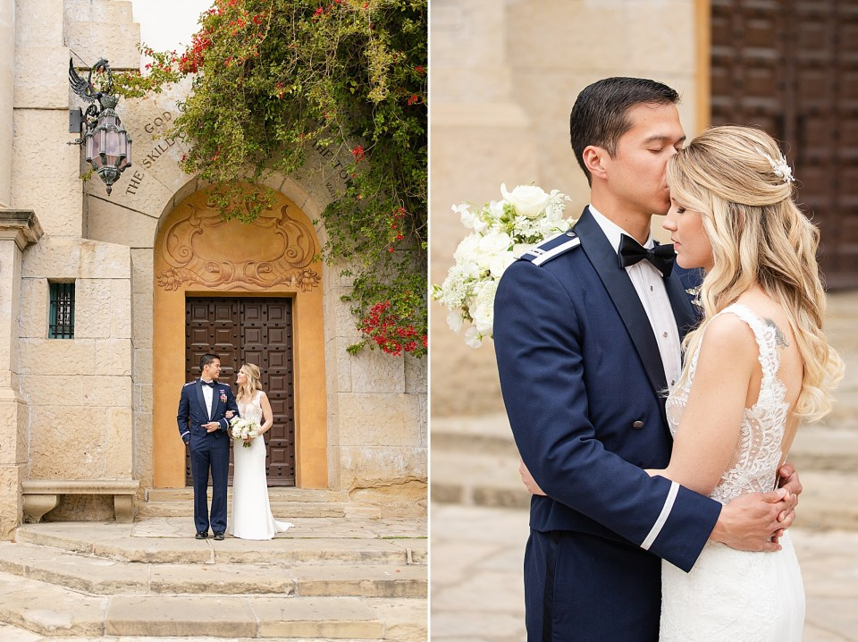 The couple at the Santa Barbara Courthouse for their husband & wife portraits. Kevan kissing Angela on the forehead and holding her around the waist.