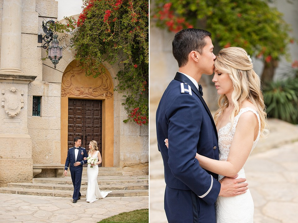 Kevan escorting his bride down the stairs at the Santa Barbara Courthouse. A second photo of the couple sharing an intimate moment as the groom kisses her forehead.
