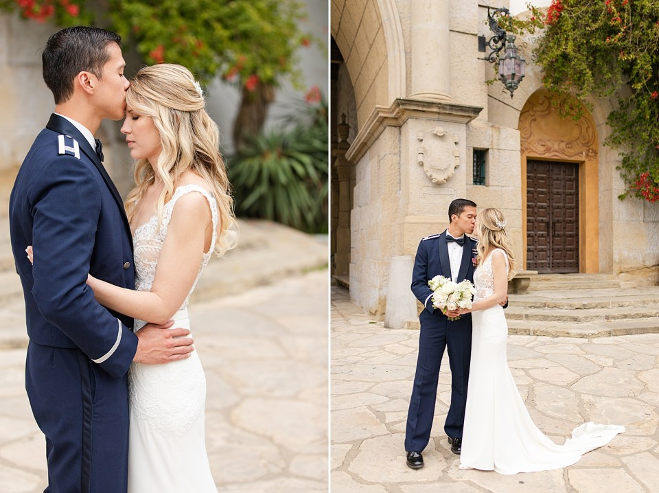 The groom kissing his wife on the forehead. And the couple sharing a kiss in front of the Santa Barbara Courthouse.