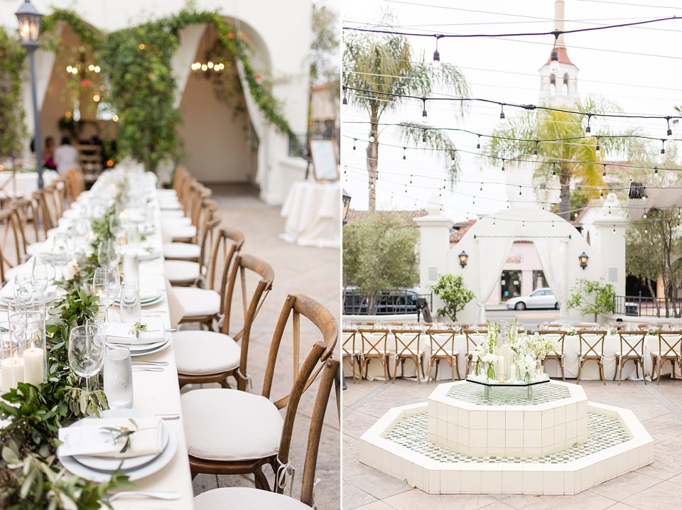 The couple's Villa & Vine Wedding reception tables