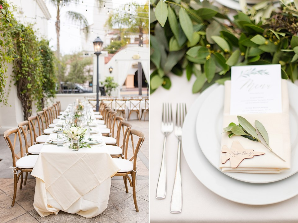 A long reception table at the Villa & Vine Wedding, and a close up of a place setting for a guest with a string of garland running through the middle of the table.