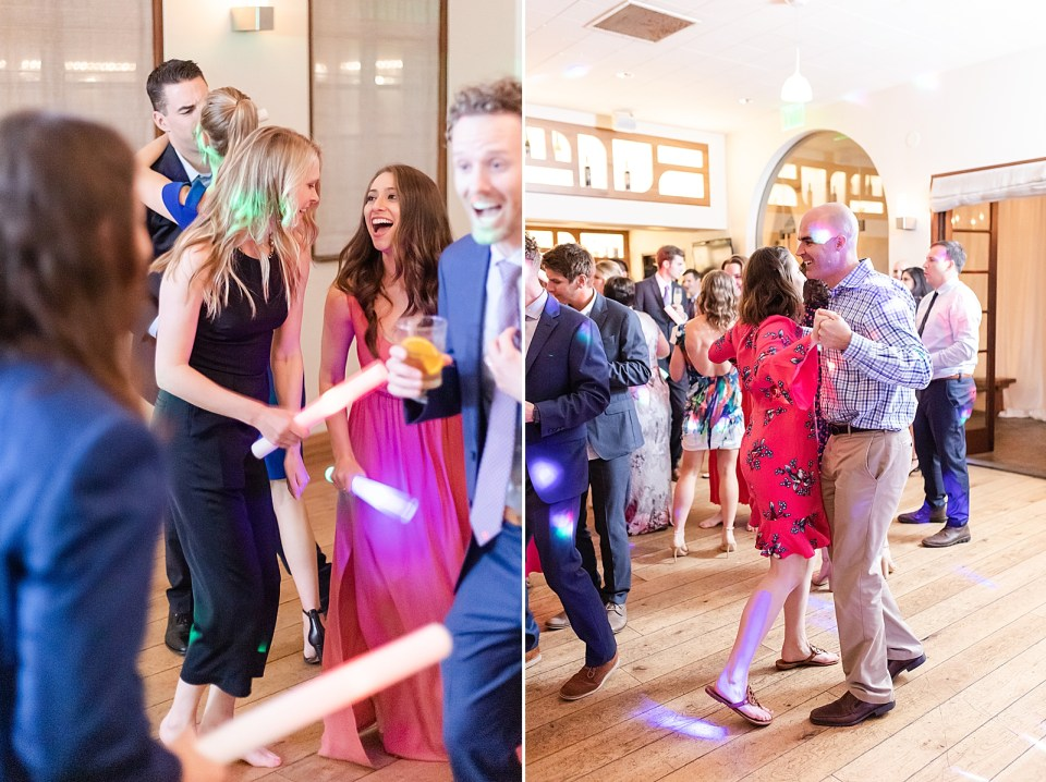 guests laughing and dancing during this Villa & Vine Wedding. And a second photo of a couple sharing a slow dance